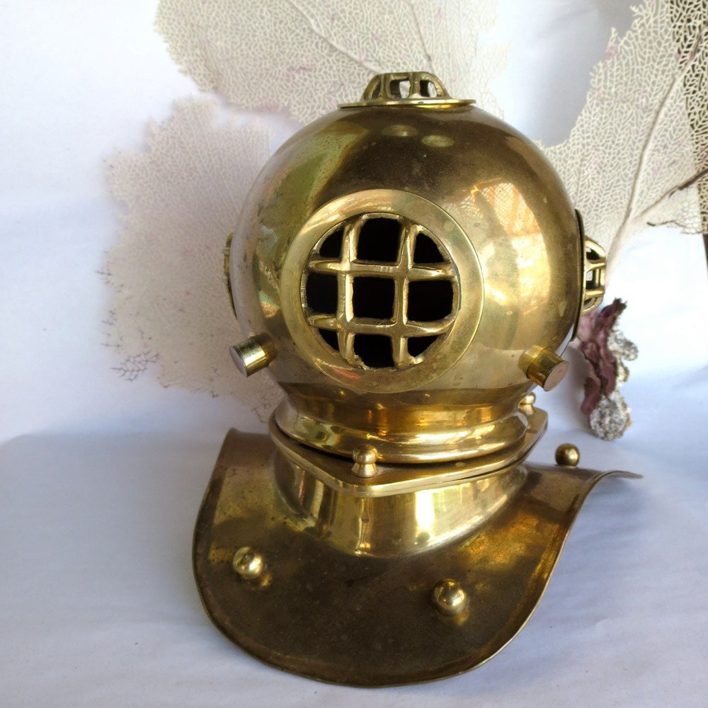 Vintage Decorative Brass Diving Helmet Steampunk Nautical