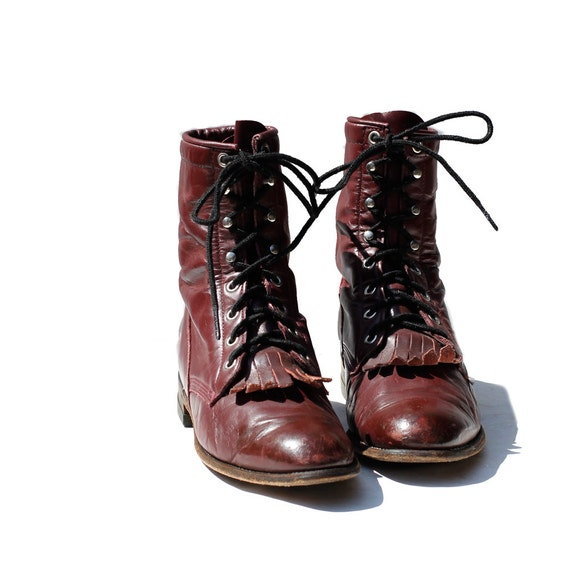 size 6.5 Burgundy Leather JUSTIN Ankle boots