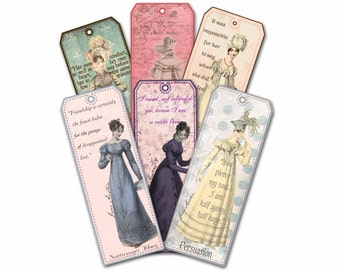 Jane Austen Bookmarks, Gift Set of Six,  Bridal Shower Party Favor Book Club Favor,Teacher gift, Pride and Prejudice Gifts for Her