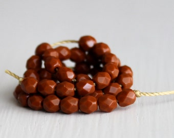 25 Opaque Umber Faceted 4mm Czech Glass Rounds