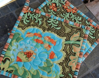 Amy Butler Potholders, Designer Potholders, Quilted Pot holders, Amy Butler Belle, Gothic Rose Blue