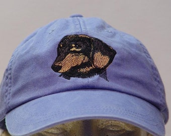 DACHSHUND Black Tan Dog Hat - One Embroidered Men Women Cap - Price Embroidery Apparel - 24 Color Caps Available