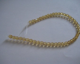 7 Inch Strand of 4mm Honey Fire Polished Czech Beads