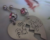 Best fing friends heart belly button rings. SET OF 2. Friendship jewerly. Bff Bfb best friend gift