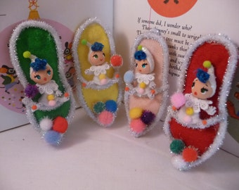 1 Left Little OOAK Pom Pom Pixies Ornaments You Pick
