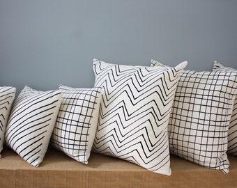 """12"""" Organic Cotton Pillow - Plaid or Chevron or Diagonal Stripe"""