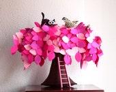 Pink Weeping willow,  Decoration, Children decor. Felt Tree.