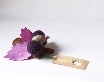 Felt brooch, purple leaves with acorns, branch oak,  Autumn brooch Fall accessory