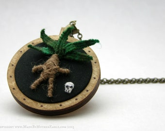 The All Hallow's Mandrake Pendant - Miniature Stumpwork Embroidery and Birch Wood