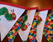 The Very Hungry Caterpillar - Polka Dot -  6 Bunting Flags - 4.5 ft long