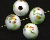 Vintage 14mm Millefiori Beads White with Lime Green Swirls Made in Japan