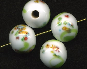 Vintage 15mm Millefiori Beads White with Lime Green Swirls Made in Japan