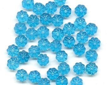 Vintage Flower Beads 6mm Bright Aqua Cyan Blue Rondelle Spacers 48 Pcs.