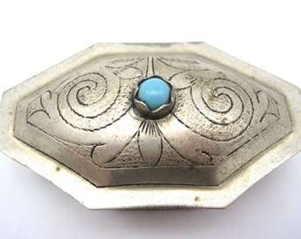 Vintage Pill Box - Turquoise