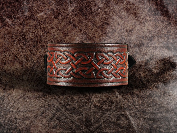 Leather Cuff -  Russet Celtic Knot