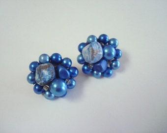 Vintage Signed Japan Blue Cluster Clip Earrings
