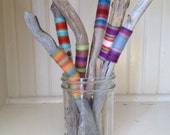 Medium bundle of yarn wrapped driftwood