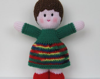"KNITTED DOLL - ""Holly"" - Baby Buddy with pink skin tone"