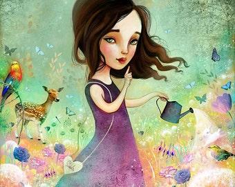 Secret Garden 12X12 Print - girl gardener, green fingers, garden art, girl room,  Meluseena print