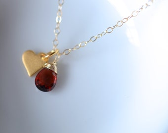 Dainty Vermeil Heart Charm Gold Filled Necklace Personalized Bridesmaids Gift Gemstone Pendant