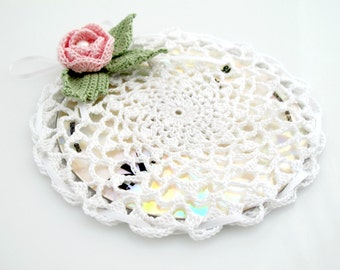 Crocheted Rose Disc Cozy. White. Cover.