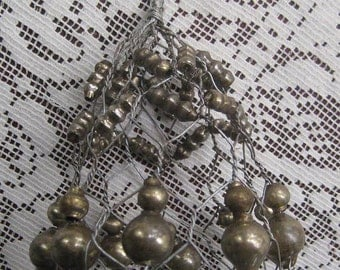 Mercury Glass Silverish Beads And Wire Christmas Bell Ornament For You To Embellish