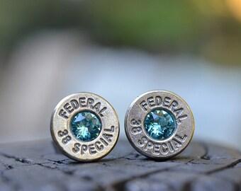 Bullet Earrings stud earrings or post earrings Federal .38 special earrings silver earrings with Swarovski crystals