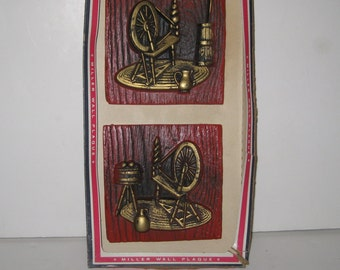Vintage Miller Studio Chalkware Spinning Wheel Wall Hanging Plaque In Box