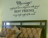 Marriage is getting to have a sleep over - vinyl wall decal, master bedroom, vinyl lettering, wall sticker, design