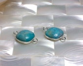 2pcs Turquoise Jasper Connector, Small, Silver tone Connector, Gemstone Link, Gemstone Finding, Blue, Jewelry Supplies, Jewellery Supplies