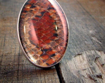 Sterling Snakeskin Cocktail Ring - Oval Quartz Cabochon with Natural Snakeskin - MADE TO ORDER