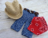 Custom Crochet Newborn Baby Blue Jeans Hat and Bandana
