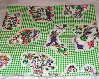 Vintage Green Gingham Holly Hobbie Style  Fabric, Flying Kites