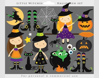 Witch clipart - Halloween clip art, witches, cute, little, broomstick, moon, black cat, witch's cauldron, spider