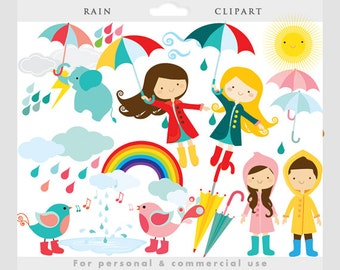 Rain clipart - rain clip art, cute, whimsical, flying girl umbrellas birds wellingtons boots, April showers, weather personal commercial use