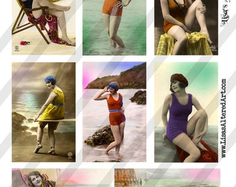 Digital Collage Sheet Vintage Bathing Beauty Images Postcards(Sheet no. O129) Instant Download