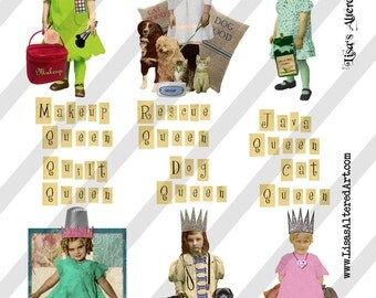 Digital Collage Sheet Queen Series 4 PNG File Available (Sheet no. Q4) Instant Download