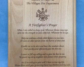 Personalized Firefighters Prayer Plaque P2