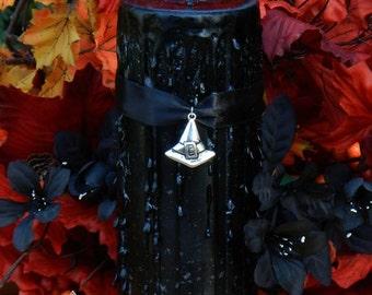 Black Hat Society 2.5x6 Witches Candle . Witches Gathering, Vanilla Caramel, Lemon Cake, Cafe Mocha. Anise and Fennel