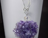 Amethyst Crystal Cluster Necklace  With  Large Hammered Bead Links - Quartz - Anniversary - Birthday - Gemstone - Mineral