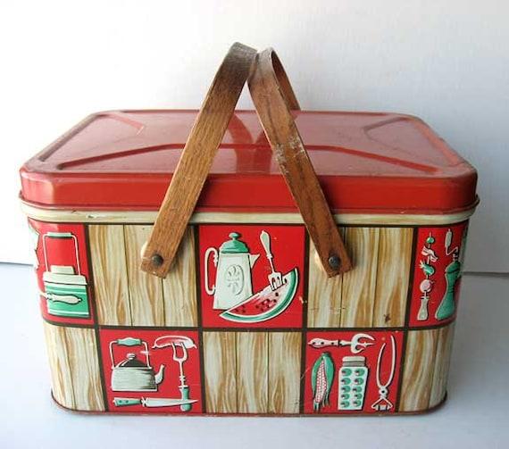 1950 S Vintage Tin Picnic Basket Box W Wood Handles