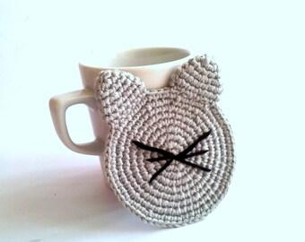 Christmas hostess gift, Cat coasters (set of 2)  ,crochet cat coaster,