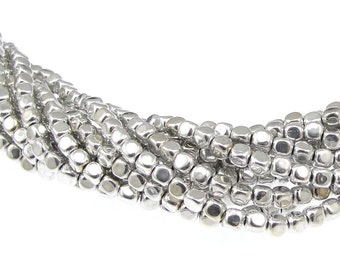 100 4mm Cube Beads Metallic Silver Beads Czech Glass Beads - Czech Beads - String of 100 Silver Cubes