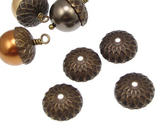 4 Acorn Caps Vintaj Natural Brass 13mm Acorn Bead Caps Dark Brass Antique Brass Acorn Beadcaps Fall Autumn (BC0003)