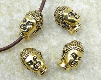 TierraCast Buddha Head Beads - Antique Gold Buddha Beads - Zen Yoga Buddhism (P778)