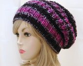 Knit Slouchy Hat, Slouchy Beanie Hat, Pink and Black Hat, Oversized Beanie, Chunky Hat, Hand Knit Hat, Womens Winter Hat - Chunky Reversible