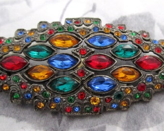 vintage multi color rhinestone brooch - j5324