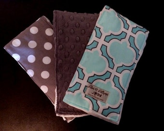 Burp Cloths-Aqua Heather BurpieTrio