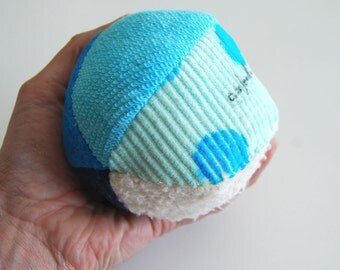 Organic Fabric Ball Blue Tones Sensory Eco Montessori Play