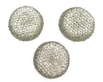 Resin rhinestone 24mm round and faceted cabochon in Bridal White  (3)